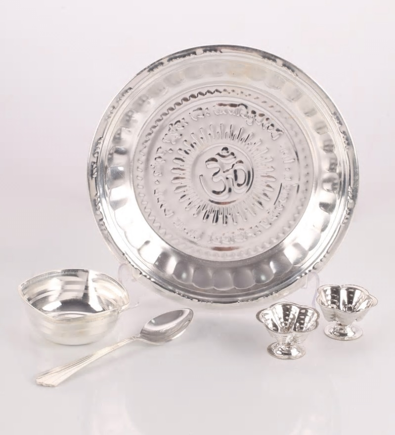 silver plated pooja set